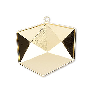 drop, almost instant jewelry, swarovski crystals, gold-plated brass, 29x27mm with 27mm tilted dice setting (4933/c). sold per pkg of 8.
