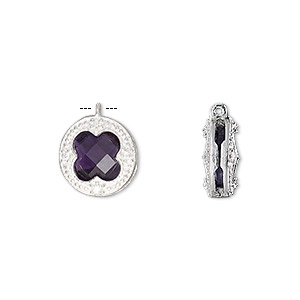 drop, amethyst (natural) / cubic zirconia / sterling silver, clear, 12mm two-sided faceted round. sold individually