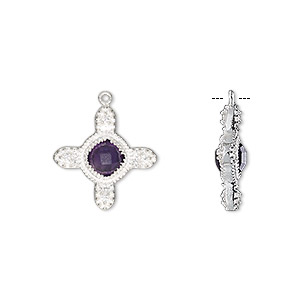 drop, amethyst (natural) / sterling silver / cubic zirconia, clear, 15mm double-sided cross. sold individually.