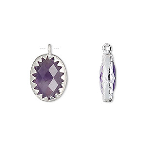 drop, amethyst (natural) and sterling silver, 15x11mm double-sided faceted oval. sold individually.