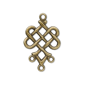 drop, antique brass-plated pewter (zinc-based alloy), 23x19mm weave, 3 loops. sold per pkg of 20.