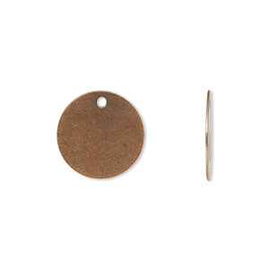 drop, antique copper-plated brass, 15mm flat round. sold per pkg of 500.
