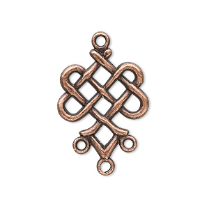 drop, antique copper-plated pewter (zinc-based alloy), 23x19mm weave, 3 loops. sold per pkg of 20.