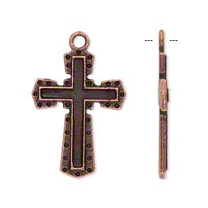 drop, antique copper-plated pewter (zinc-based alloy), 28x20mm single-sided cross. sold per pkg of 10.