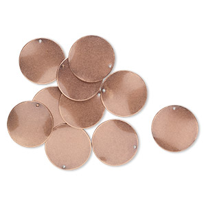 drop, antique copper-plated steel, 26mm wavy flat round. sold per pkg of 10.