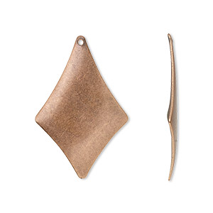 drop, antique copper-plated steel, 30x20mm kite. sold per pkg of 50.