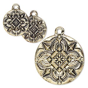 drop, antique gold-finished pewter (zinc-based alloy), 15mm and 25mm flat round with celtic design. sold per 3-piece set.