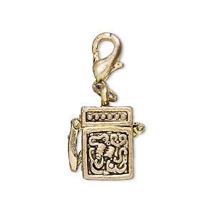 drop, antique gold-finished pewter (zinc-based alloy), 15x10mm cube prayer box with swirl design and magnetic safety latch with lobster claw clasp. sold individually.