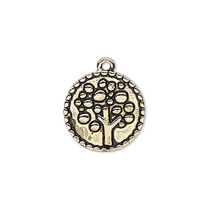 drop, antique gold-finished pewter (zinc-based alloy), 18mm single-sided round with tree design. sold per pkg of 4.