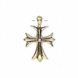 drop, antique gold-finished pewter (zinc-based alloy), 20x18mm single-sided cross. sold per pkg of 10.