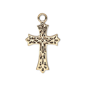 drop, antique gold-finished pewter (zinc-based alloy), 25x17mm single-sided cross. sold per pkg of 10.