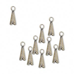 drop, antique gold-plated brass, 8x4mm cone. sold per pkg of 10.