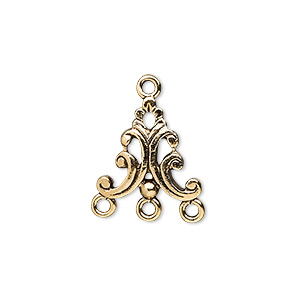 drop, antique gold-plated pewter (tin-based alloy), 15x15mm with swirls, 3 loops. sold per pkg of 4.