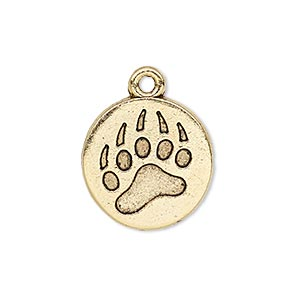 drop, antique gold-plated pewter (tin-based alloy), 19mm single-sided flat round with bear claw print impression. sold individually.