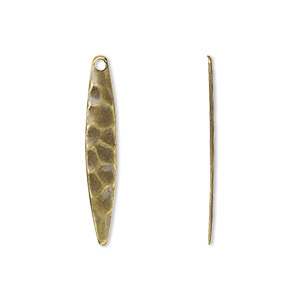 drop, antique gold-plated steel, 28x5mm textured drop. sold per pkg of 50.