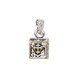 drop, antique silver- and gold-finished pewter (zinc-based alloy), 12x11mm cube prayer box with cross and swirl design with magnetic closure. sold individually.