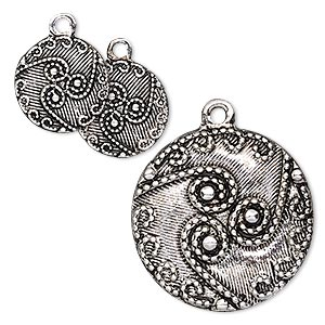 drop, antique silver-finished pewter (zinc-based alloy), 13mm and 25mm flat round with swirl and dot design. sold per 3-piece set.