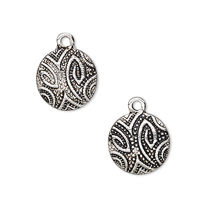drop, antique silver-finished pewter (zinc-based alloy), 13mm flat round with paisley design. sold per pkg of 2.
