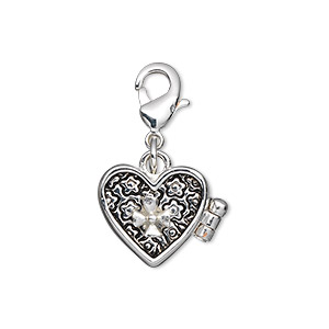 drop, antique silver-finished pewter (zinc-based alloy), 14x13mm heart prayer box with magnetic closure and lobster claw clasp. sold individually.