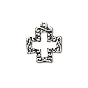 drop, antique silver-finished pewter (zinc-based alloy), 18mm open block cross. sold per pkg of 10.