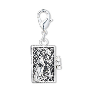 drop, antique silver-finished pewter (zinc-based alloy), 18x12mm rectangle prayer box with angel and star design with magnetic closure and lobster claw clasp. sold individually.
