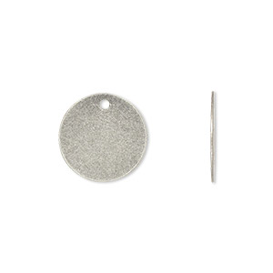 drop, antique silver-plated brass, 15mm flat round. sold per pkg of 500.