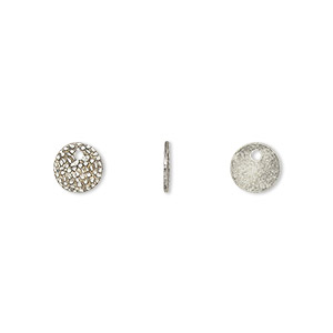 drop, antique silver-plated brass, 7mm single-sided textured flat round. sold per pkg of 100.