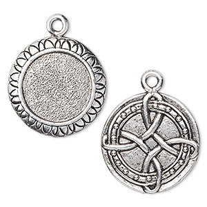drop, antique silver-plated pewter (tin-based alloy), 21mm double-sided flat round with 15mm frame mount/raised celtic knot design. sold individually.