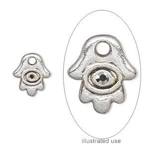 drop, antique silver-plated pewter (zinc-based alloy), 12x11mm single-sided fatima hand with (1) pp10 setting. sold per pkg of 20.
