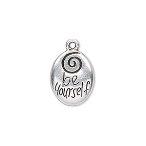 drop, antique silver-plated pewter (zinc-based alloy), 17x13mm double-sided oval with be yourself. sold per pkg of 10.