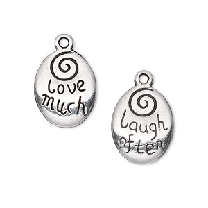 drop, antique silver-plated pewter (zinc-based alloy), 17x13mm two-sided oval with love much and laugh often. sold per pkg of 10.