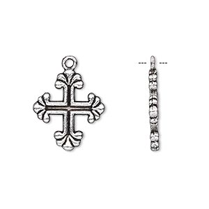 drop, antique silver-plated pewter (zinc-based alloy), 17x15mm double-sided cross. sold per pkg of 10.
