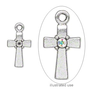 drop, antique silver-plated pewter (zinc-based alloy), 18x12mm single-sided cross with (1) pp18 setting. sold per pkg of 20.