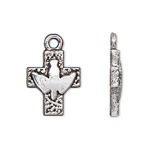 drop, antique silver-plated pewter (zinc-based alloy), 20x16mm single-sided cross with peace dove. sold per pkg of 10.