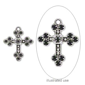 drop, antique silver-plated pewter (zinc-based alloy), 26x21mm single-sided cross with (12) pp21 settings. sold per pkg of 10.