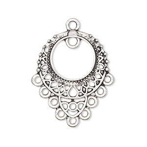 drop, antique silver-plated pewter (zinc-based alloy), 26x23mm single-sided filigree with pp12 setting, 10 loops. sold per pkg of 10.