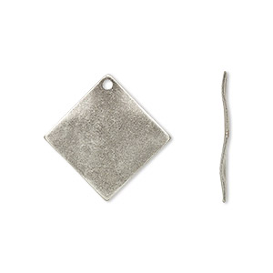 drop, antique silver-plated steel, 20x20mm wavy diamond. sold per pkg of 100.