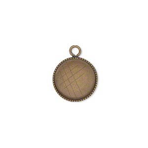 drop, antiqued brass, 13mm round with beaded edge and 12mm round bezel cup setting. sold per pkg of 12.