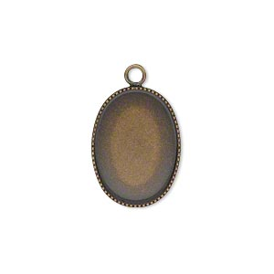 drop, antiqued brass, 19x14mm oval with beaded edge and 18x13mm oval bezel cup setting. sold per pkg of 6.