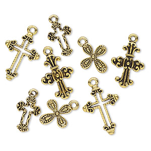 drop, antiqued gold-finished pewter (zinc-based alloy), 15x14mm-23x16mm assorted cross. sold per pkg of 8.