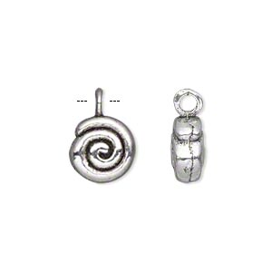 drop, antiqued silver-finished pewter (zinc-based alloy), 11x10mm double-sided flat round with spiral design. sold per pkg of 10.