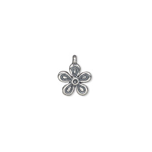 drop, antiqued sterling silver, 10mm satin single-sided flower. sold individually.