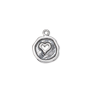 drop, antiqued sterling silver, 12-13mm single-sided irregular round with cutout heart. sold individually.