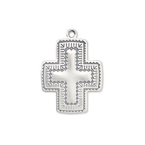 drop, antiqued sterling silver, 22x19mm southwest cross. sold individually.