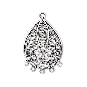 drop, antiqued sterling silver, 27x20mm filigree teardrop, 5 loops. sold individually.