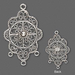drop, antiqued sterling silver, 29x22mm fancy flower with 3 closed loops. sold individually.