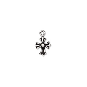 drop, antiqued sterling silver, 8.5x7mm single-sided cross. sold individually.