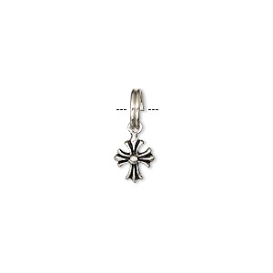 drop, antiqued sterling silver, 9x7mm cross. sold per pkg of 2.