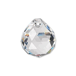 drop, asfour crystal, crystal, crystal clear, 23x20mm faceted round teardrop. sold per pkg of 5.