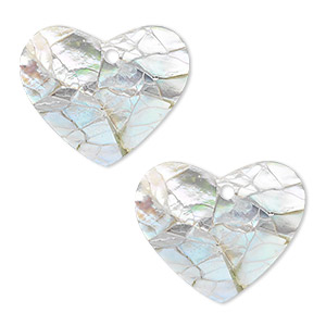 drop, black lip shell and resin (assembled), white, 23x19mm single-sided heart. sold per pkg of 2.